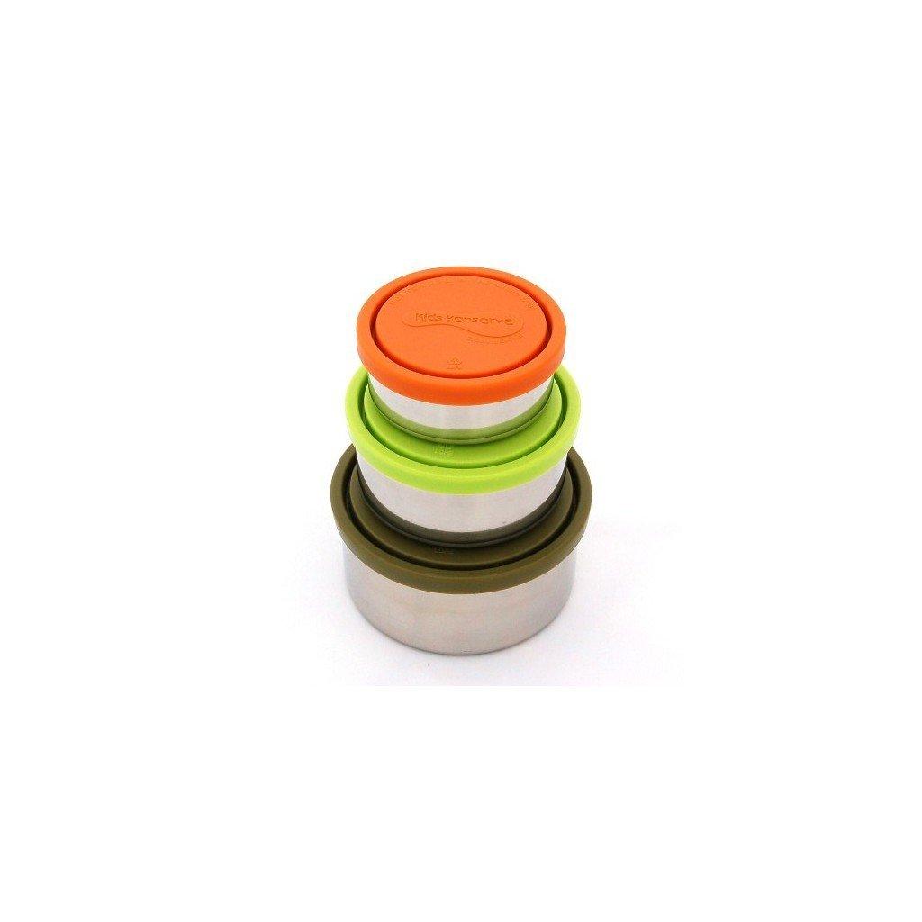 Nerezové dozy - set 3 ks TRIO moss