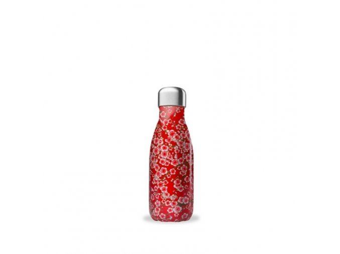 insulated stainless steel bottle flowers red 260ml
