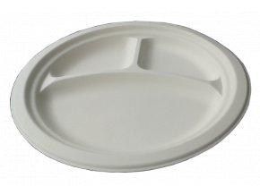Kompostovateľný tanier okrúhly 26 cm, 3 DIELNY